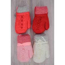 Варежки детские для девочки на шнурке