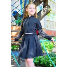 Юбка школьная с бантовыми складками